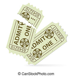 Set Cinema Ticket - Two Cinema Tickets (Torn and Intact) ...