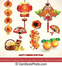 set, cinese, decorazione, anno, nuovo, felice