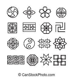 set, cinese, ornamento, giapponese, vettore, asiatico, icona, coreano