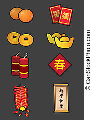 set, cinese, simbolico, decorazione, anno, nuovo, icona