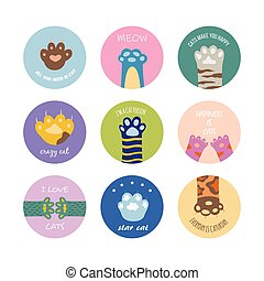 Set circle badges or frames with animals paws flat vector illustration isolated.