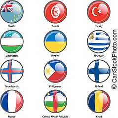 Set circle icon Flags of world sovereign states. Vector...