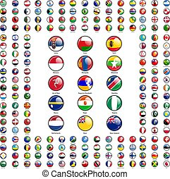 Set circle icon Flags of world sovereign states signed by the countries names