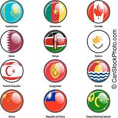 Set circle icon  Flags of world sovereign states. Vector illustr