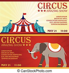 Set Circus banner, circus ticket. Amazing Show. Flat illustration.