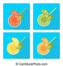 set citrus drinks blue