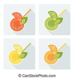 set citrus drinks