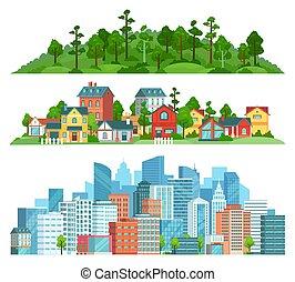 set, cityscape, isolato, illustrazione, suburbano, paesaggio, natura