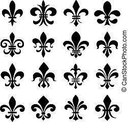 set, classico, simbolo, de, fleur, lys