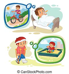 Set clip art illustrations little boy sick