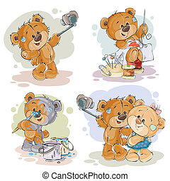 Set of clip art illustrations of enamored teddy bears. Print for Valentines