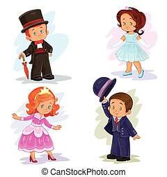 Set clip art illustrations with young children in ballroom costumes