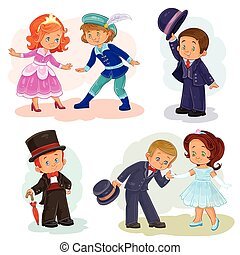 Set clip art illustrations with young children in historical costumes