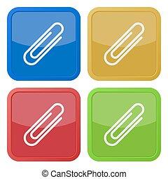 set, clip, icone, quattro ad angolo retto, carta