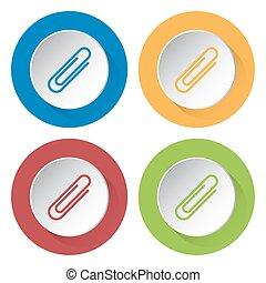 set, clip, icone, -, quattro, carta