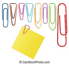 set, clip, nota, vettore, carta, fondo