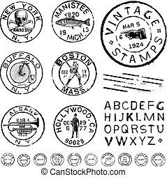 set, clipart, francobollo, vendemmia, etichetta, vettore