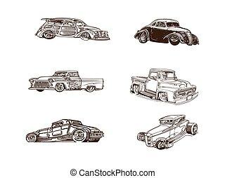 set, clipart, klassieke auto, verzameling, collection., spotprent