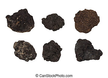 set clods of soil isolated on white