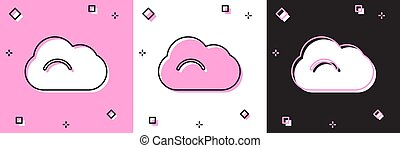 Set Cloud icon isolated on pink and white, black background. Vector Illustration