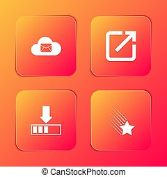 Set Cloud mail server, Open in new window, Loading and Falling star icon. Vector