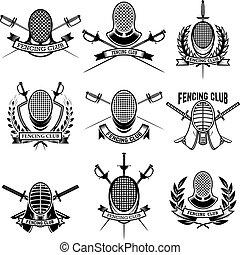 set, club, scherma, emblema, labels., segno, badge., vettore, disegno, illustrazione, swords., elementi