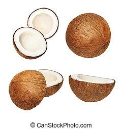 set coconut isolated on white