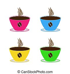 Set coffee cups with hot coffee and steaming different bright colors of pink blue yellow green on saucers on a white background