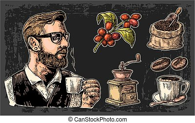 Set coffee. Hipster barista holding a cup, sack with wooden...