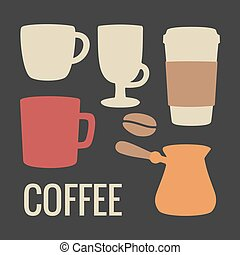 Set coffee icon. Vector flat illustration. For web, info graphics, poster.
