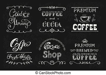 Set coffee labels or banners