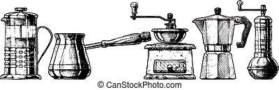 Set coffee making equipment - Vector set of coffee making...
