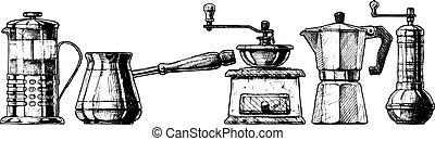 Set coffee making equipment - Vector set of coffee making...