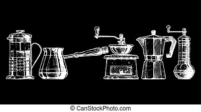Set coffee making equipment