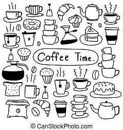 set, coffee., scarabocchiare, mano, vettore, disegnato, linea