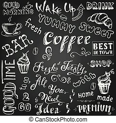 Set coffee sign and letters,