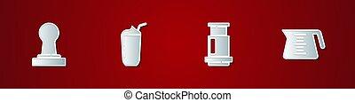 Set Coffee tamper, Milkshake, Aeropress coffee and pot icon. Vector.
