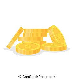 Set coins stack vector illustration, icon flat finance heap, dollar coin pile. Golden money standing on stacked, gold piece isolated on white background - flat style