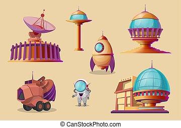 set., colônia, colonização, vetorial, marte, caricatura, futurista