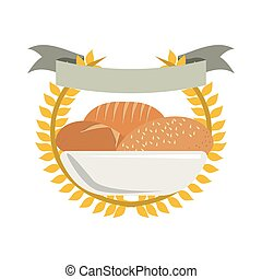 set collection bread crown of leaves with label