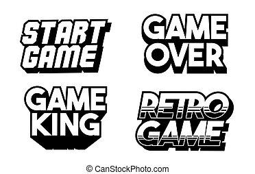 set collection classic retro game phrases