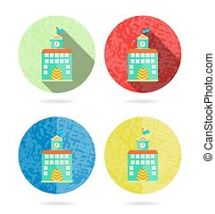 Set, collection, group of four colorful round, isolated, flat, buttons, icons, signs, labels, stickers with school building, long shadow