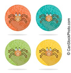 Set, collection, group of four halloween, round, isolated, flat, buttons, icons, signs, labels, stickers with brown, angry spider, grunge, long shadow