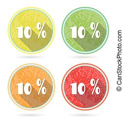Set, collection, group of four isolated, flat, colorful buttons, icons, signs, labels, stickers, 10 percent discount, sale