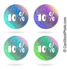 Set, collection, group of four isolated, flat, colorful buttons, icons, signs, labels, stickers, ten percent discount, sale