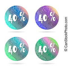 Set, collection, group of four isolated, flat, colorful buttons, icons, signs, labels, stickers, forty percent discount, sale