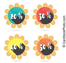 Set, collection, group of four isolated, sun, flat, colorful buttons, icons, signs, labels, stickers, 20, 30, 40, 50 percent discount, sale
