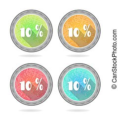 Set, collection, group of four, round, isolated, flat, colorful buttons, icons, signs, labels, stickers, 10 - ten percent discount, sale, long shadow, grunge, retro design