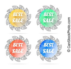 Set, collection, group of four round, isolated, flat, colorful - yellow, green, red, blue - buttons, icons, signs, labels, stickers with text Best Sale, long shadow