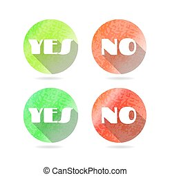 Set, collection, group of four round, isolated, modern, red, green icons, buttons with text Yes, No, long shadow
